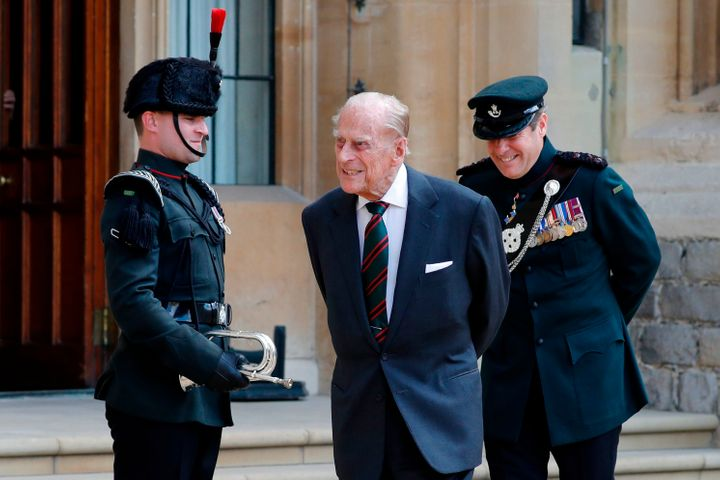 Prince Philip takes part in the transfer of the Colonel-in-Chief of The Rifles at Windsor castle on July 22.