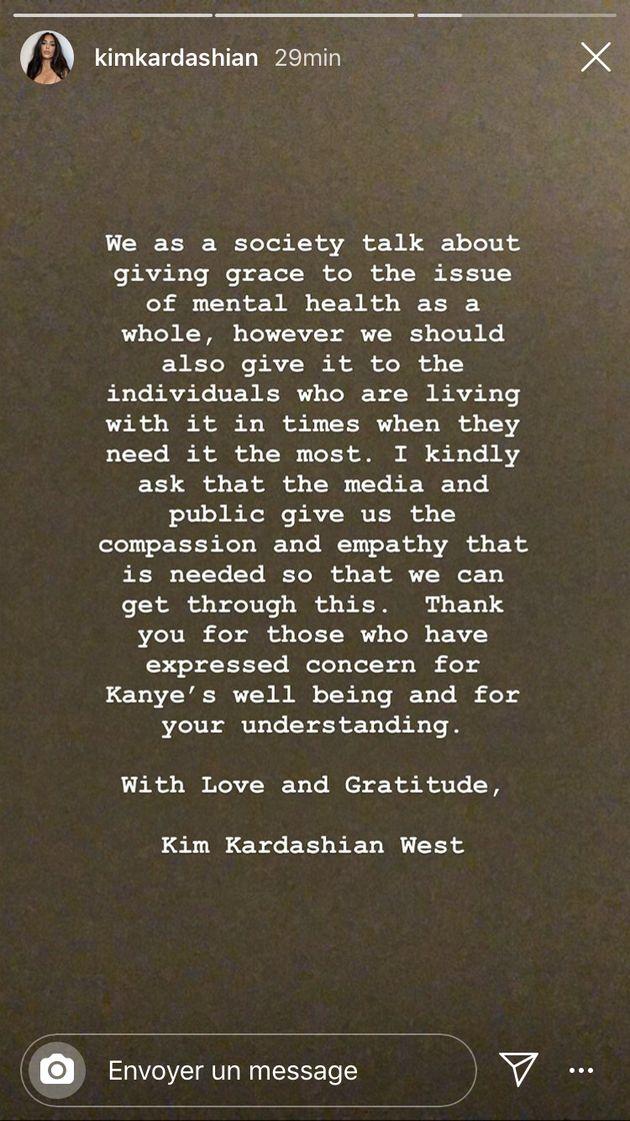 Sur Instagram, Kim Kardashian a évoqué pour la première fois la santé mentale de son mari Kanye West,...