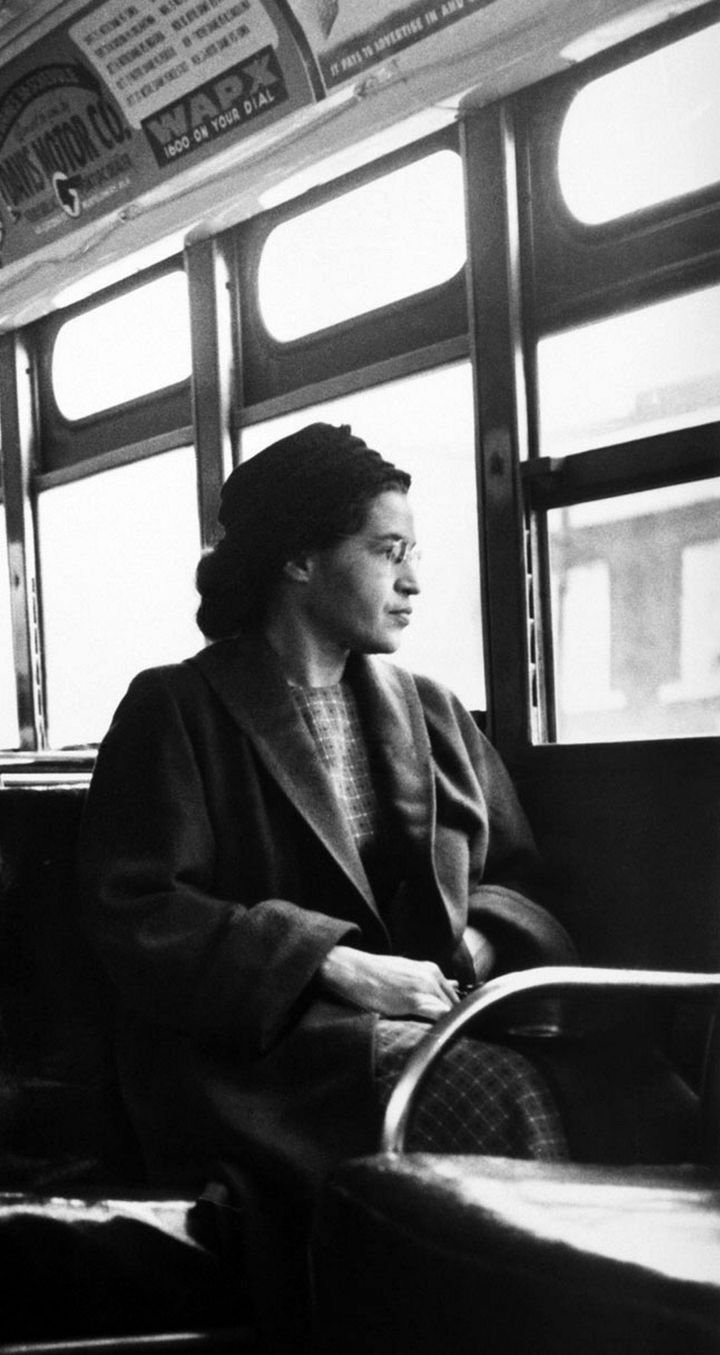 Rosa Parks sits on a public bus in Montgomery, Alabama.