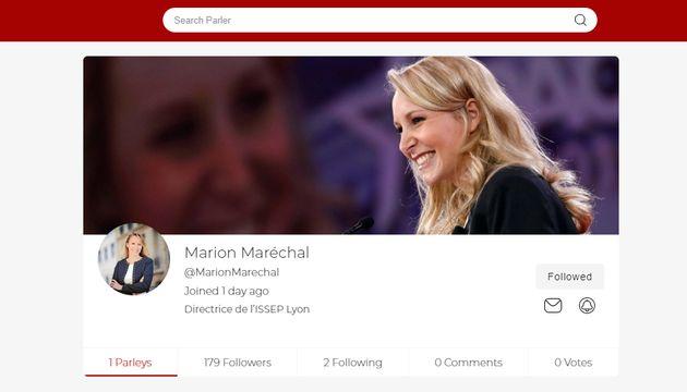 Capture de la page de Marion Maréchal sur l'application