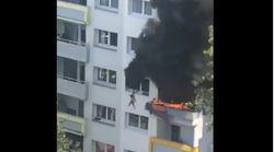 El espectacular rescate de dos niños que saltan desde un apartamento en llamas en