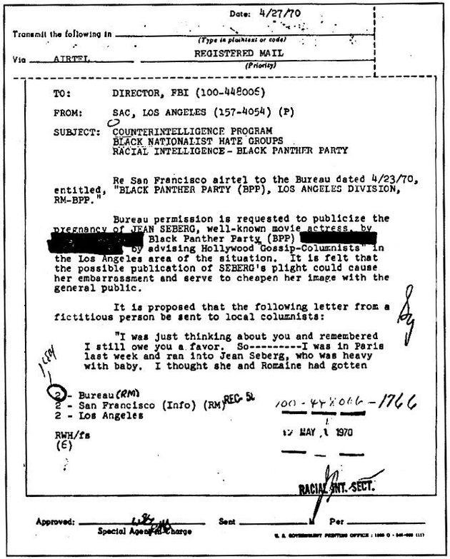 Le mémo sur Jean Seberg envoyé à la direction du FBI le 27 avril