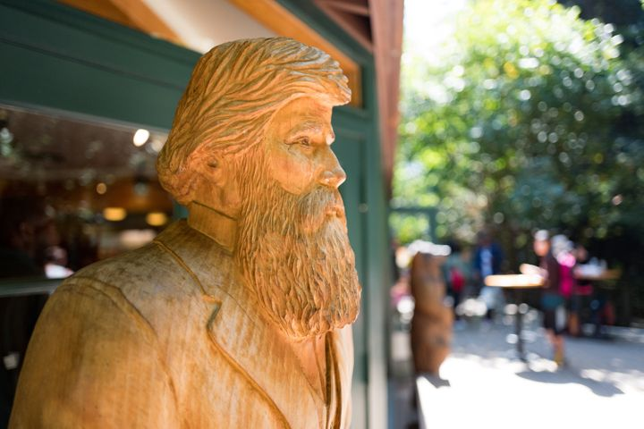 A carved, wooden statue of John Muir, who founded the Sierra Club, at Muir Woods National Monument, Mill Valley, California.