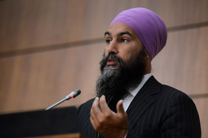 NDP leader Jagmeet Singh holds a press conference on Parliament Hill in Ottawa on Wednesday.