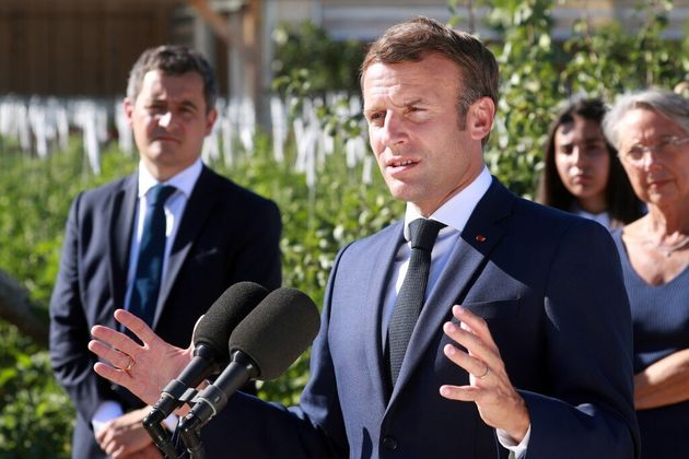 Emmanuel Macron, Gérald Darmanin et Elisabeth Borne, ce 22 juillet 2020 à Chambord