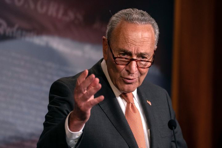 """""""They can barely cobble together a partisan bill in their own conference,"""" Senate Minority Leader Chuck Schumer ("""