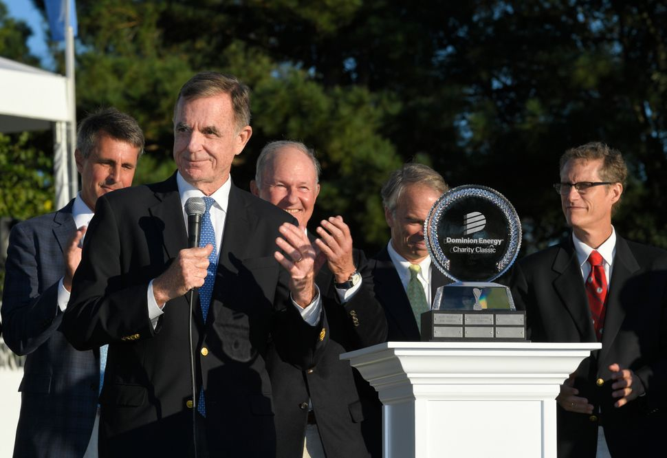 Dominion CEO Thomas Farrell speaks at the PGA Tour Champions Dominion Energy Charity Classic at The Country Club of Virginia