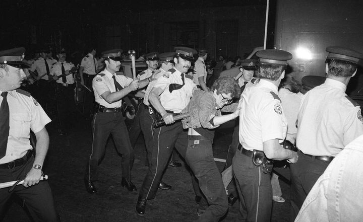 "In June of 1981, police raided more bathhouses, sparking further demonstrations in what would come to be known as ""The Battle of Church Street,"" during which officers struck and attempted to detain protesters."