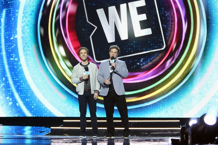 WE organization co-founders Craig Kielburger and Marc Kielburger attend WE Day California at The Forum on April 25, 2019 in Inglewood, Calif.