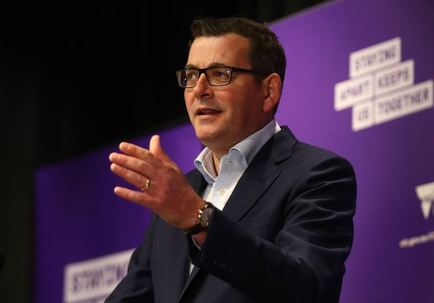 Victorian Premier Daniel Andrews speaks to the media during a press conference on July 23, 2020 in Melbourne,