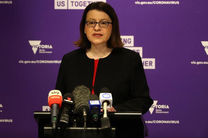 Minister for Health Jenny Mikakos speaks to the media on July 23, 2020 in Melbourne, Australia.
