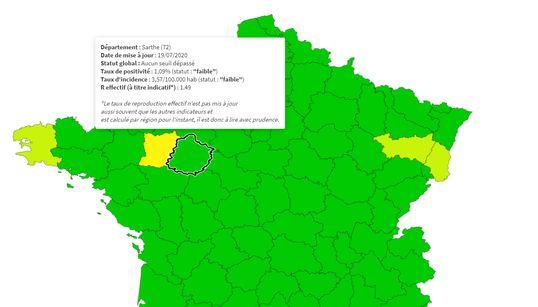 Notre carte de France en temps réel pour suivre l'évolution du