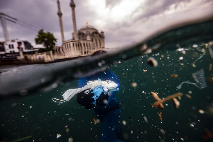 World record holder free-diver Sahika Ercumen collects plastic waste in the Bosphorus in Istanbul, Turkey, on June 27.