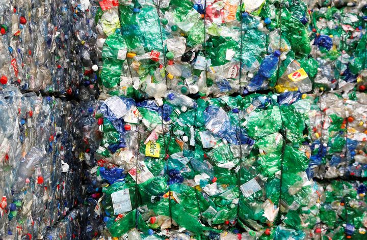 Bundles of pressed plastic bottles at the Transcycle Transport & Recycling AG company in Neuenhof, Switzerland. A very sm