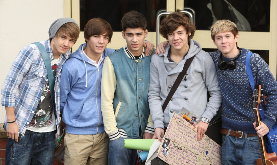 One Direction arrive for rehearsals at Fountain Studios, Wembley during the filming of live shows for...