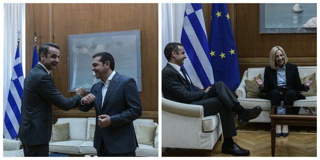 Εικόνες από την ενημέρωση των πολιτικών αρχηγών: Οι διάλογοι, τα χαμόγελα και οι