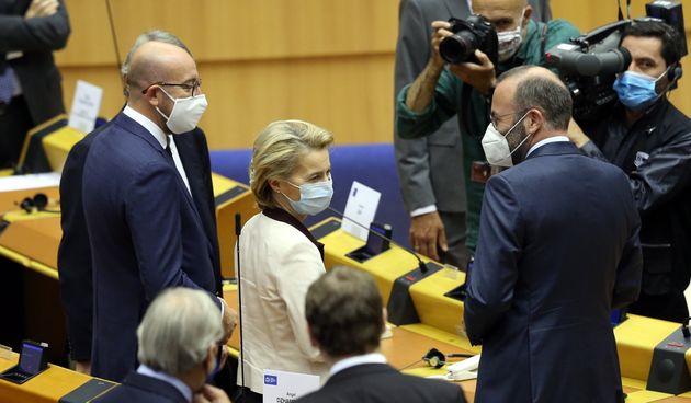 BRUSSELS, BELGIUM - JULY 23: European Commission President Ursula Von Der Leyen (2nd L) and European...