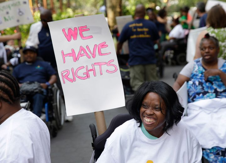 Lolita Thompson in the inaugural Disability Pride Parade in New York City, in July 2015. The parade calls attention to the rights of people with disabilities.
