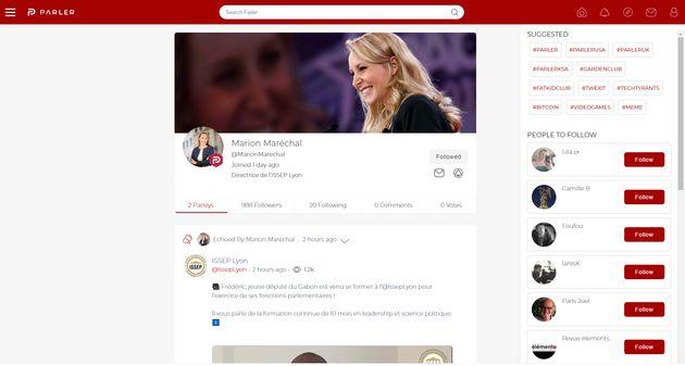 Capture d'écran du profil de Marion