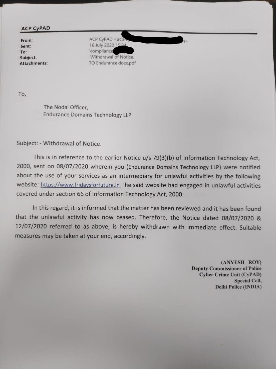 Copy of the email shared with HuffPost India by DCP Anyesh Roy mentioning that the two notices have been...