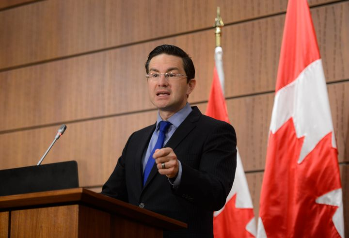 Conservative MP Pierre Poilievre holds a press conference on Parliament Hill in Ottawa on July 23, 2020.