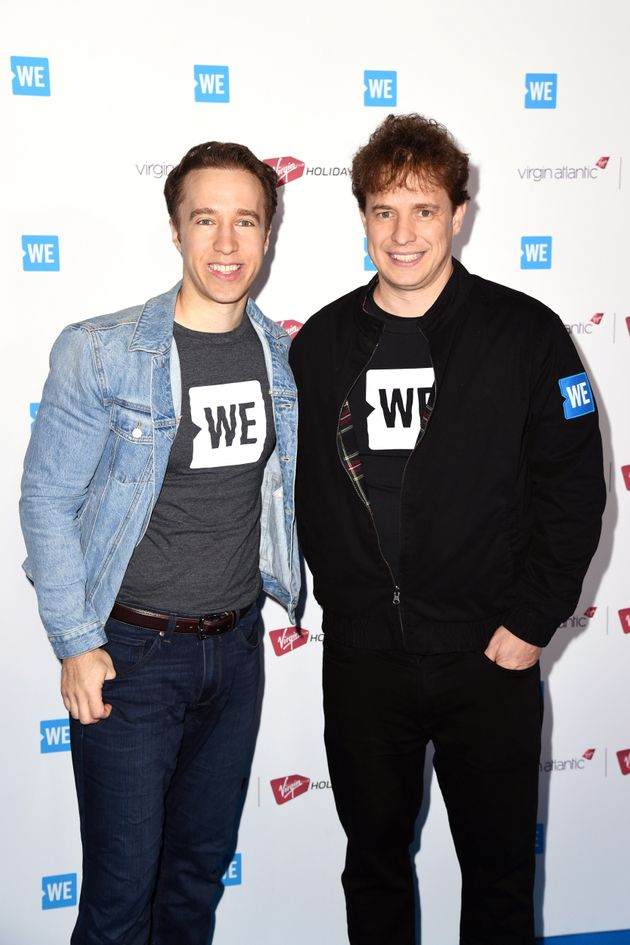 Craig Kielburger (left) and Marc Kielburger attend WE Day UK 2020 at The SSE Arena, Wembley on March...
