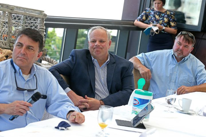 Here's Interior Secretary David Bernhardt in a July 21, 2020, meeting in Boston, also not wearing a mask.