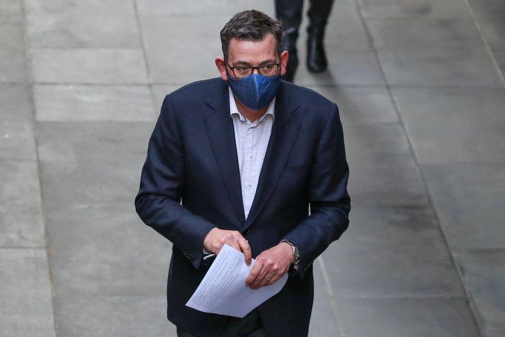 MELBOURNE, AUSTRALIA - JULY 24: Premier of Victoria Daniel Andrews wearing a mask arrives for a press conference on July 24, 2020 in Melbourne, Australia.