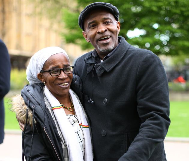 Members of the Windrush generation Paulette Wilsonwho arrived from Jamaica in 1968, and Anthony Bryan,...