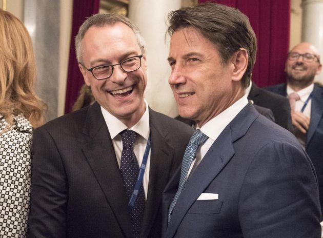 Giuseppe Conte e Carlo Bonomi ANSA/FILIPPO ATTILI UFFICIO STAMPA PALAZZO