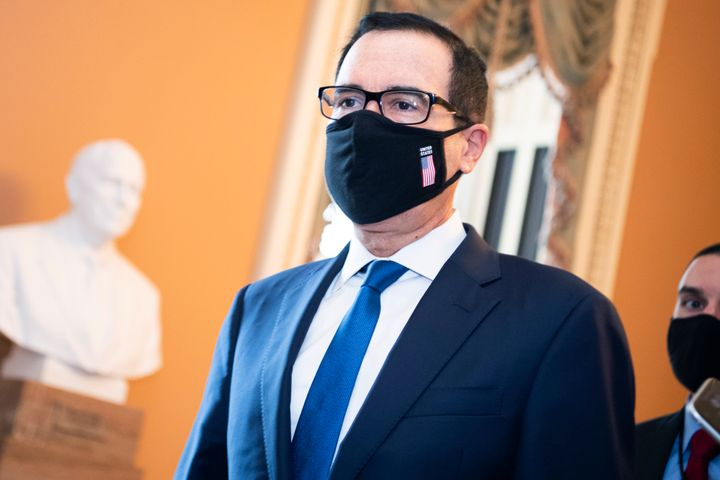 Treasury Secretary Steven Mnuchin arrives at the Capitol for a meeting with Senate Majority Leader Mitch McConnell about the