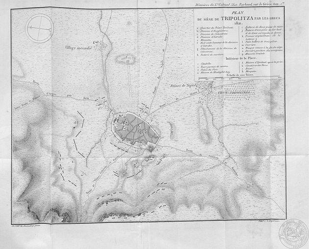 Χάρτης της πολιορκίας της Τρίπολης, από το βιβλίο του
