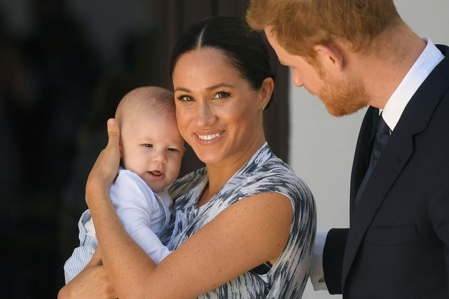 The Sussexes with their baby son, Archie, at a meeting with Archbishop Desmond Tutu during their royal...