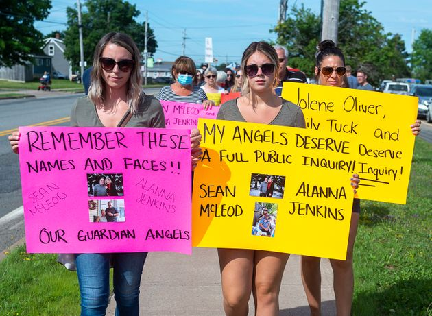 Family and friends of Nova Scotia shooting victims attend a march demanding an inquiry into the deadly...