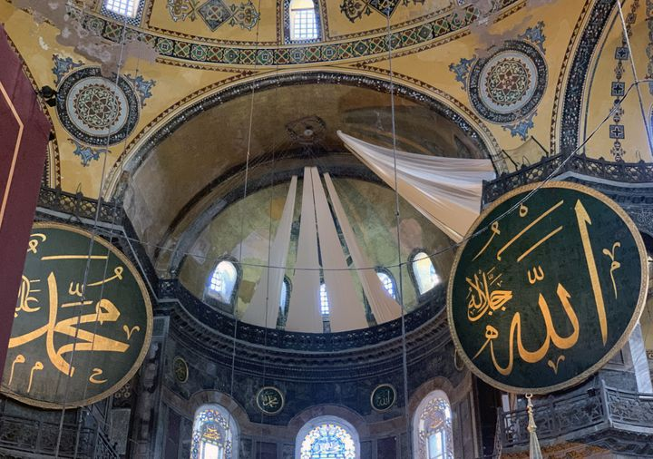 An interior view of the Hagia Sophia Mosque after being converted from a museum back into a mosque.