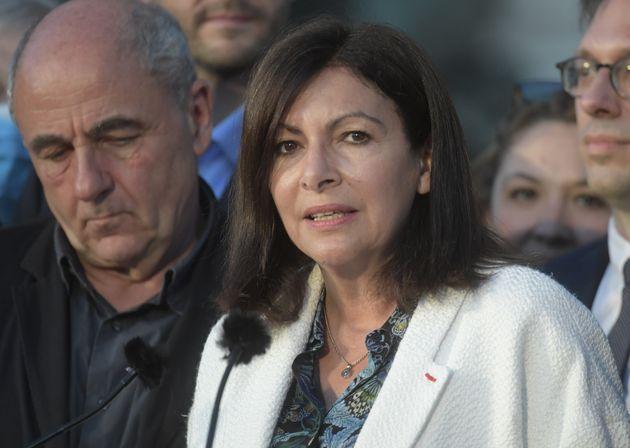 Anne Hidalgo durant son discours à l'issue du second tour des élections municipales, le...