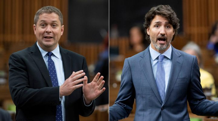 Conservative Leader Andrew Scheer and Prime Minister Justin Trudeau speak in the House of Commons on July 22, 2020.