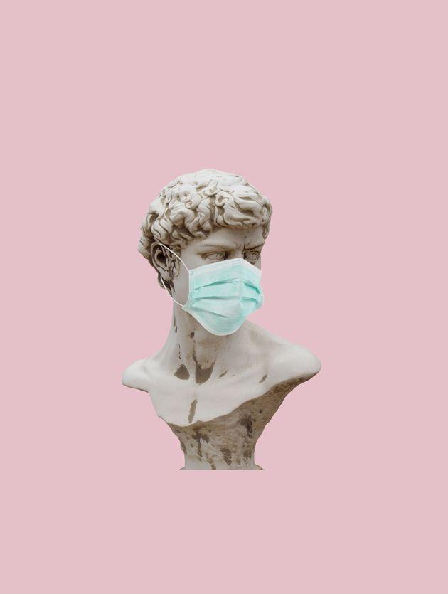 health mask on sculpture