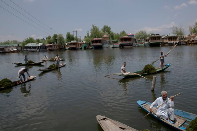 Kashmiri boatmen employed by the Jammu and Kashmir government remove weeds from the Dal Lake in Srinagar,...