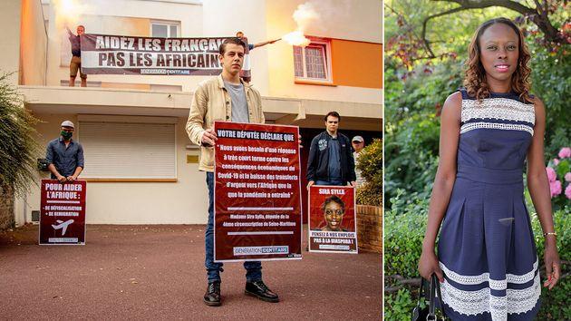 Les militants nationalistes de Génération identitaire ont mené une action contre la députée Sira Sylla...