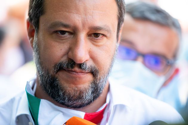 Lega Political party leader Matteo Salvini attends the demonstration called 'Basta degrado al QT8' (Stop...