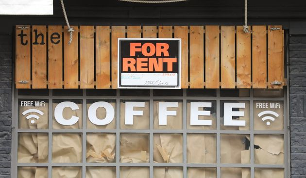 The shuttered Dock coffee shop on Toronto's Queen Street East, May 15,