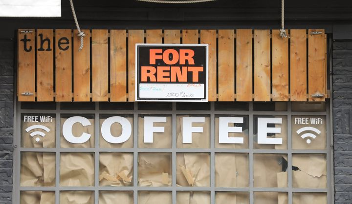 The shuttered Dock coffee shop on Toronto's Queen Street East, May 15, 2020.