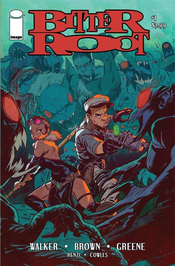 "The first issue of ""Bitter Root,"" written by David F. Walker and Chuck Brown, with art by Sanford Greene."