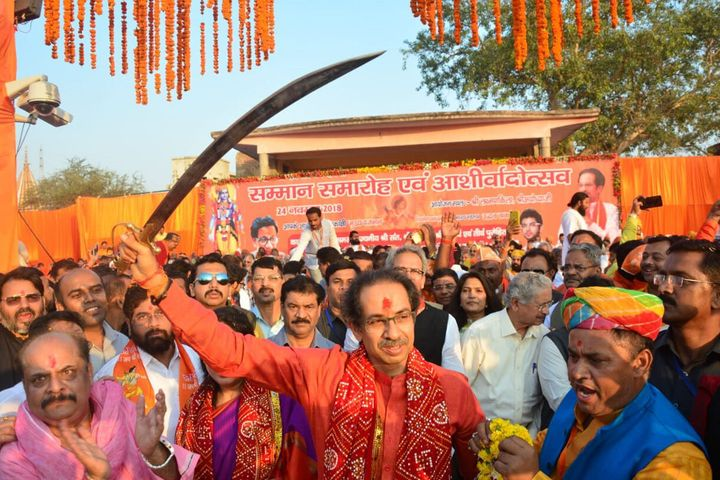 Maharashtra Chief Minister Uddhav Thackeray holds a sword during a programme at Laxman Ghat, on November 24, 2018 in Ayodhya in a file photo