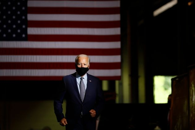Democratic presidential candidate former Vice President Joe Biden arrives to speak at McGregor Industries...
