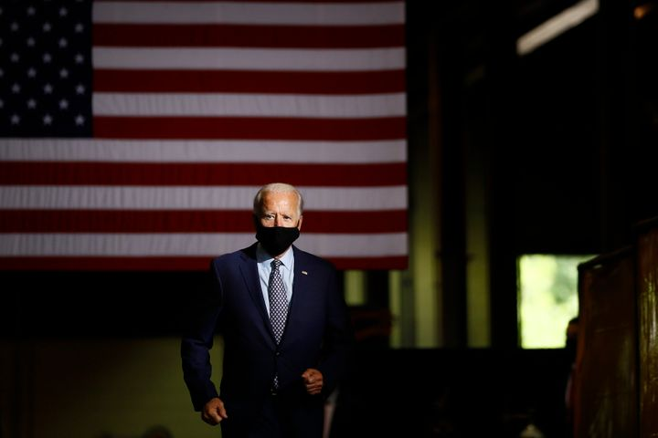 Democratic presidential candidate former Vice President Joe Biden arrives to speak at McGregor Industries in Dunmore, Pa., Th