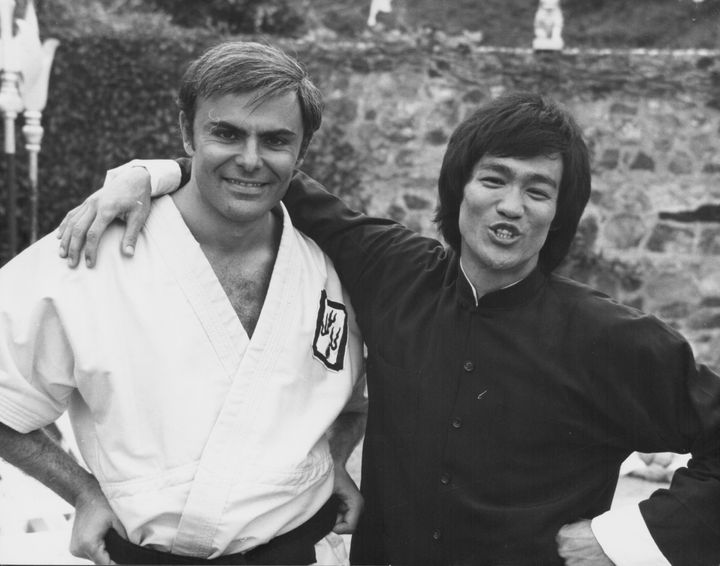 Actors Bruce Lee and John Saxon, on the set of the movie 'Enter the Dragon', 1973. (Photo by Stanley Bielecki Movie Collectio