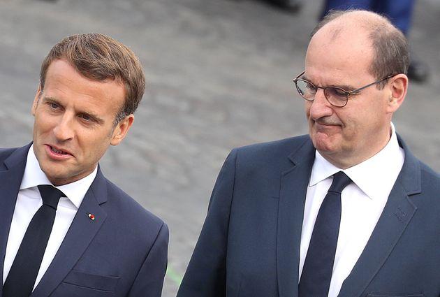 Emmanuel Macron et Jean Castex, lors de la cérémonie militaire du 14 juillet 2020 sur la...