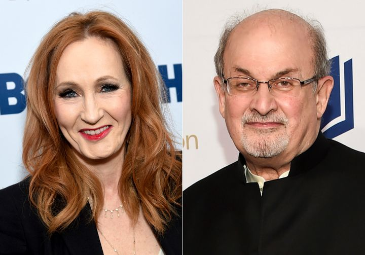 "This combination photo shows authors J.K. Rowling, left, and Salman Rushdie. Rowling, threatened legal action against a British news site that suggested she was transphobic after referring to controversial tweets she has written in recent months. Rushdie was forced into hiding because of death threats because of his novel ""The Satanic Verses."""